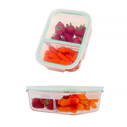 Premium 2 Pc. or 4 Pc. BPA-free Borosilicate Glass Containers with Snapping Lids