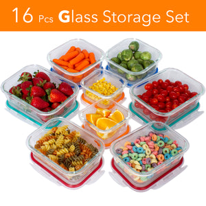 [16 Pcs Set] Glass Storage Containers with Lids/Glass Food Storage Containers Airtight/Glass Containers With Lids - Glass Meal Prep Containers Glass Food Containers - Glass Lunch Containers