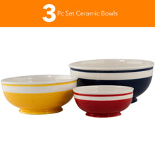 Load image into Gallery viewer, Mr. Food 3 pieces Ceramic Mixing Bowl Set - Colorful Mixing Stackable Bowls