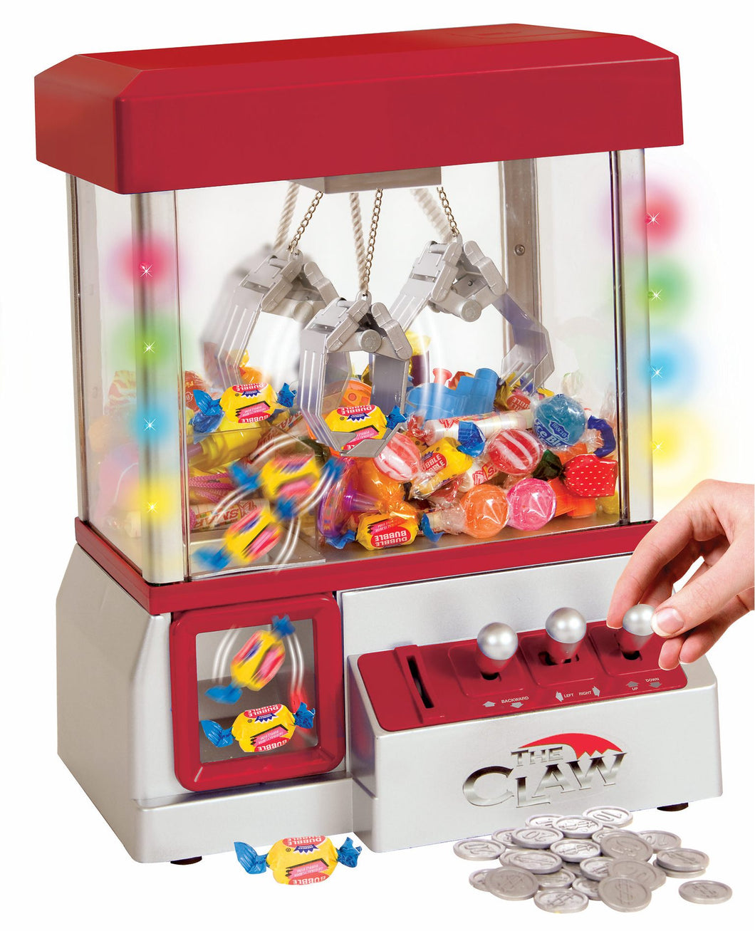 Carnival Crane Claw Game - Electronic Claw Toy Grabber Machine with LED Lights and Toys