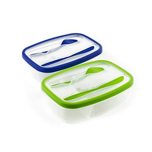 Plastic Bento Lunch Box - Food Storage Containers with Cutlery