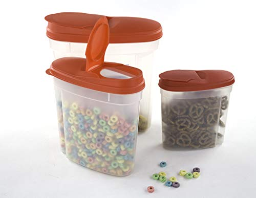 Plastic Cereal Dispensers 3 pc Set - BPA Free Plastic Food Storage Containers - Airtight Dry Food Storage (Red)