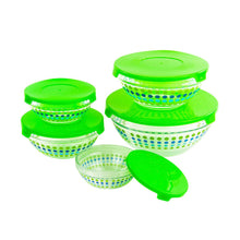 Load image into Gallery viewer, All Purpose Glass Bowls and Food Storage Containers 10 Pcs Set - Glass Lunch Bowls Set with Snap Tight Green Lids (MultiColor Polka Dots)