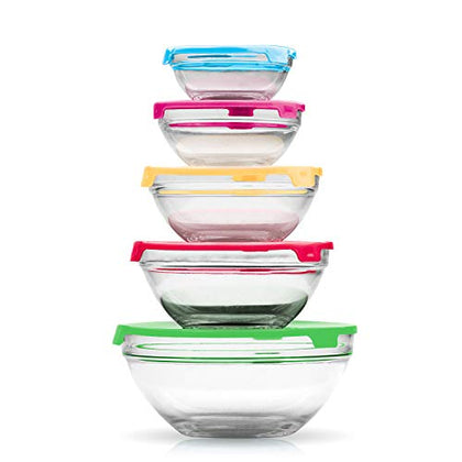 10 Pc Round Glass Food Storage Containers with Multi Color Lids