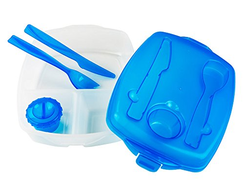 Colorful Plastic Lunch Box Set with Cultery - Bento Boxes or Food Storage Containers 2 Pack