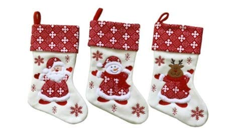 "Large White Snowflake Classic 3D Christmas Stockings - 18"" Santa Toy Stockings"