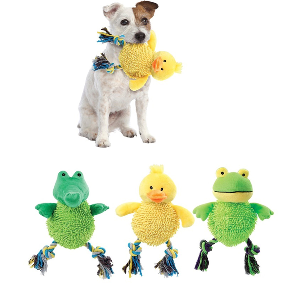 Soft Laughing Dog Toy Set - Frog Duck and Alligator Dog Toys