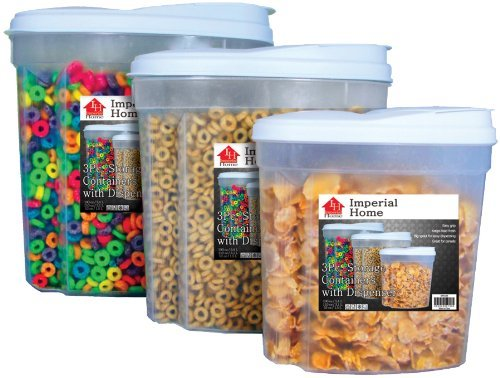 Imperial MW1196 Plastic 3 Piece Cereal Dispenser Set - Dry Food Storage Containers