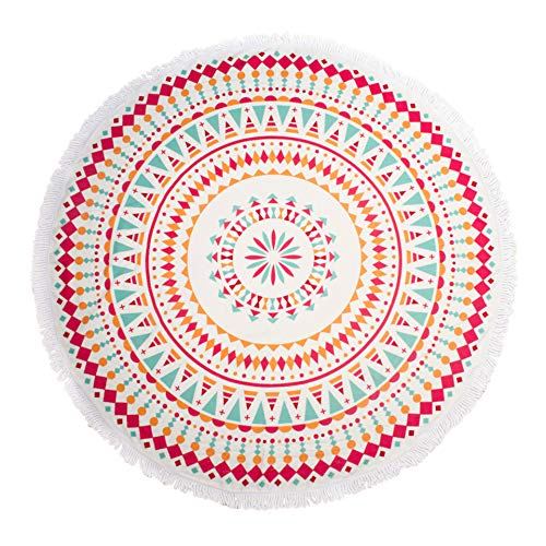 "Round Thick Terry 60"" Beach Towel 1Lb Yoga Towel Mat Blanket W/ Tassel - Mandala"