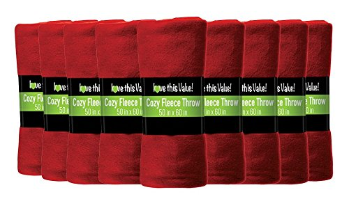12 Pack of Imperial Home 50 x 60 Inch Ultra Soft Fleece Throw Blanket - Red