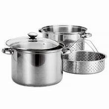 Load image into Gallery viewer, Stainless Steel 4 Pcs Pasta Cooker Set - 8 qt Stock Pot with Steamer Inserts