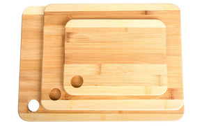 3 Pc Durable Bamboo Cutting Boards - Sturdy Chopping Board or Carving Board Block (Two Tone)