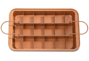 Copper Brownie Pan – 3 pc Perfect Brownie Pan Set - Pan for Brownies with Dividers, Pan, and Serving Plate