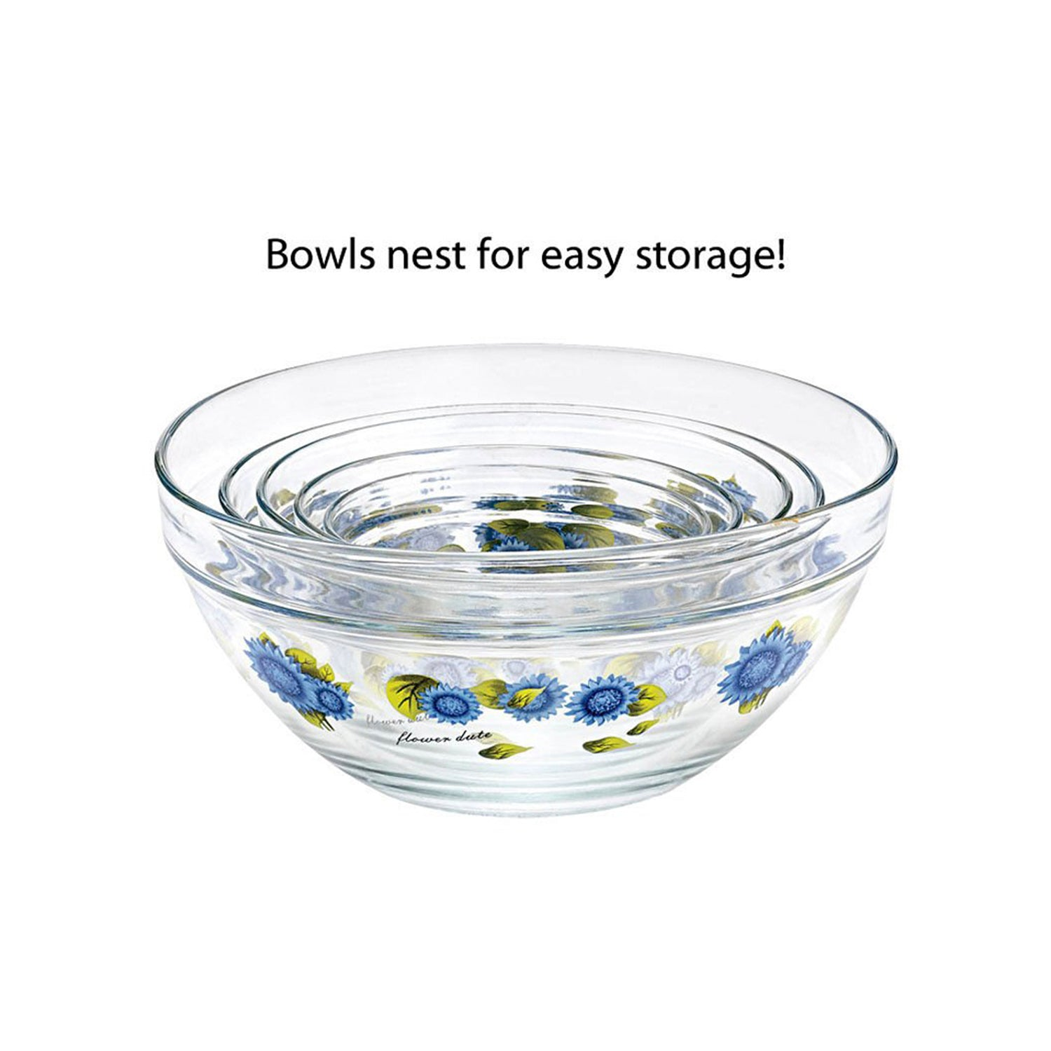10 Pcs Glass Lunch Bowls Food Storage Containers Set With Lids & Flower Design