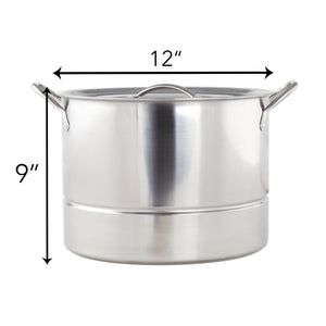 Imperial Home Classic Stainless Steel Steamer Pot, 3 Piece Steaming Stock Pot With Insert & Lid (16 Quart)