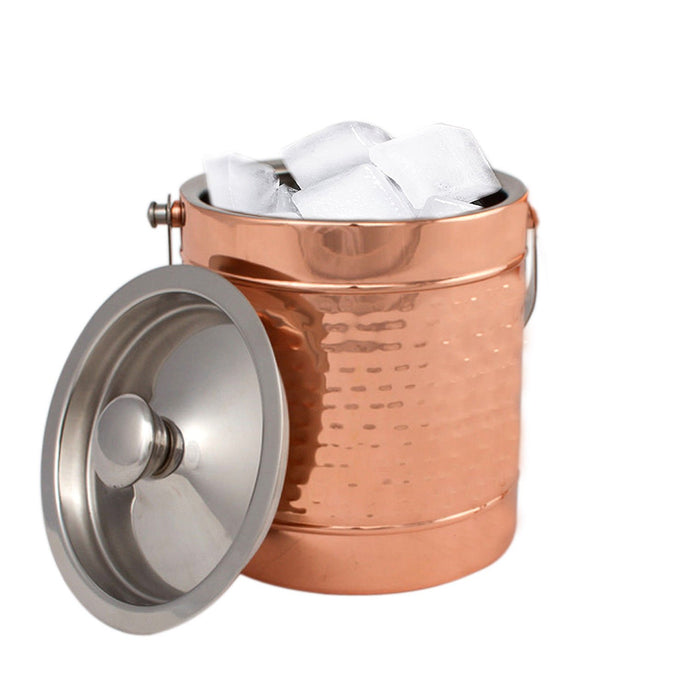 Copper Stainless Steel Double wall Ice Bucket with Lid - Hammered Wine Bottle Cooler Ice Bucket