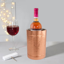 Load image into Gallery viewer, Copper Double Wall Wine Cooler – Insulated Cooler Ice Bucket – Champagne Bucket or Wine Chiller Bottle Cooler