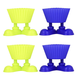 Set of 4 Silicone Cupcake Baking Cups with Silly Fun Feet Novelty