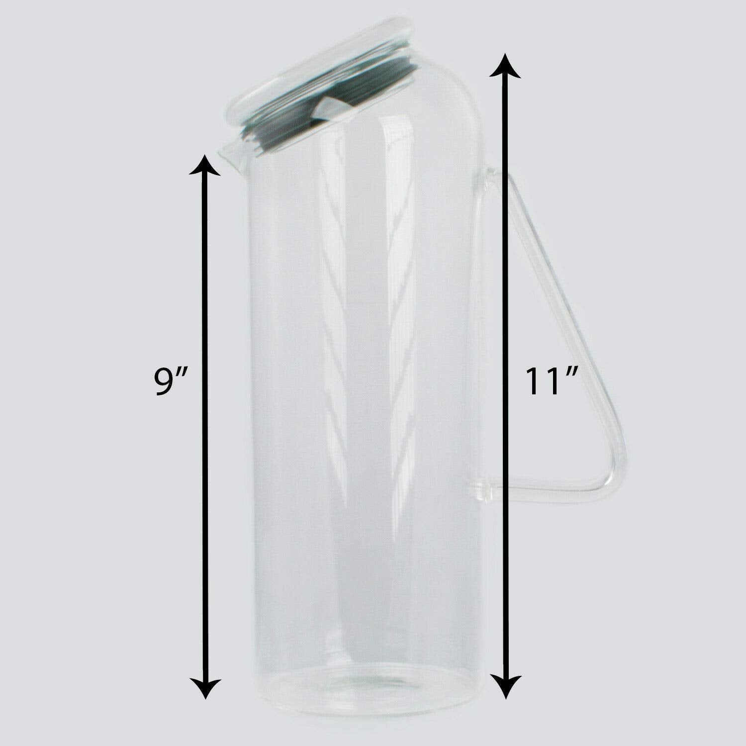 Glass 54 oz. Beverage Water Pitcher - Carafe with Lid - Glass Pitcher with Lid & Handle
