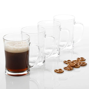 4 Beer Glasses – Beer Mug Set of 4 – Glass Mug 23 oz Beer Glass Set of 4 – Dishwasher Safe & Thick Beer Glasses