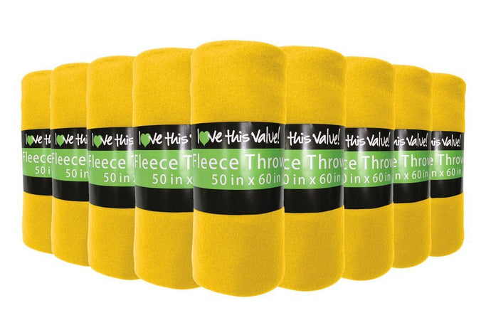 12 Pack of Imperial Home 50 x 60 Inch Ultra Soft Fleece Throw Blanket - Yellow
