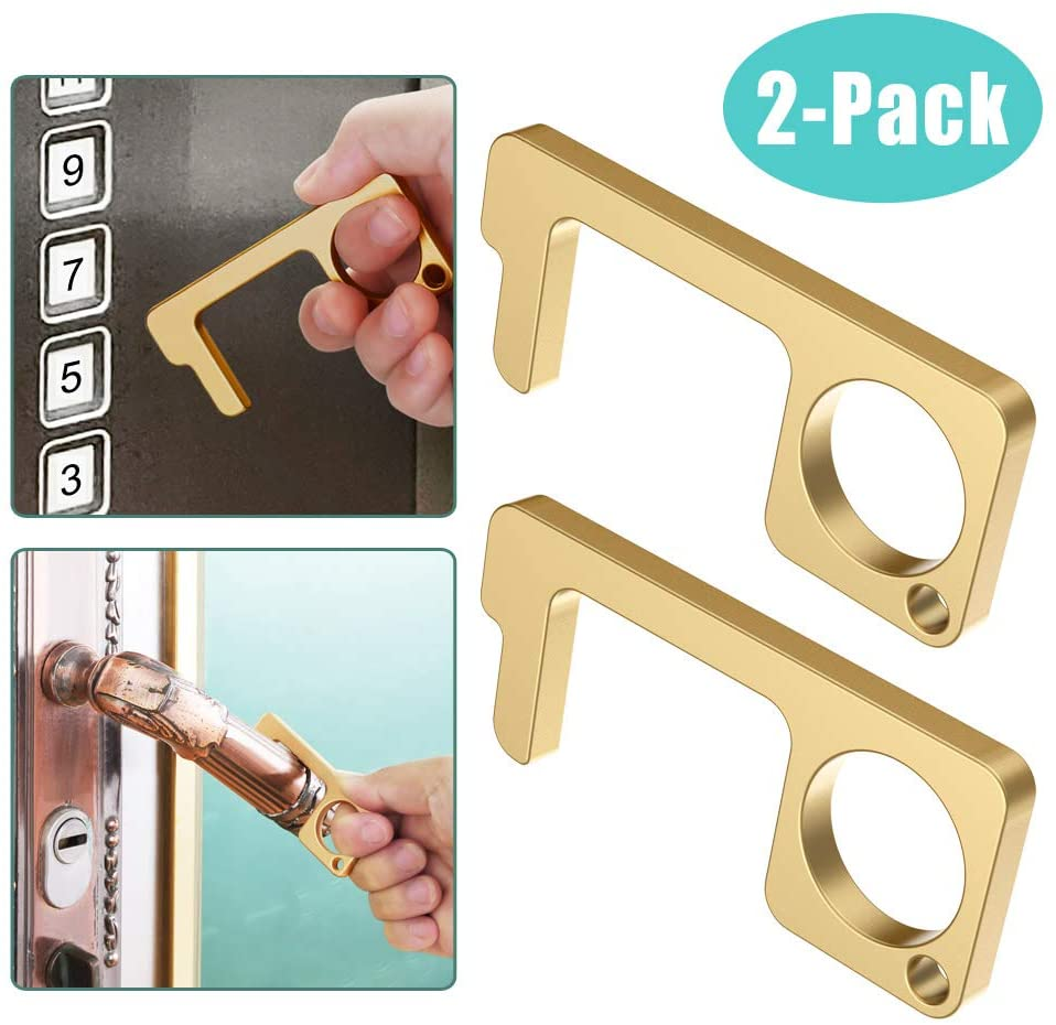 2 Pack Non-Contact Door Opener - Button Pusher and Stylus Utility Tool - Rust-Resistant Germ-Free Keychain