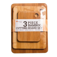 Load image into Gallery viewer, 3 Pc Durable Bamboo Cutting Boards - Sturdy Chopping Board or Carving Board Block (Solid)