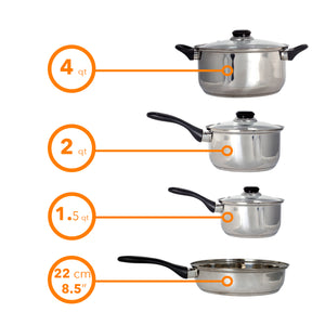 Stainless Steel 7 Pcs. Cookware set Dutch Oven Fry Pan Saucepan