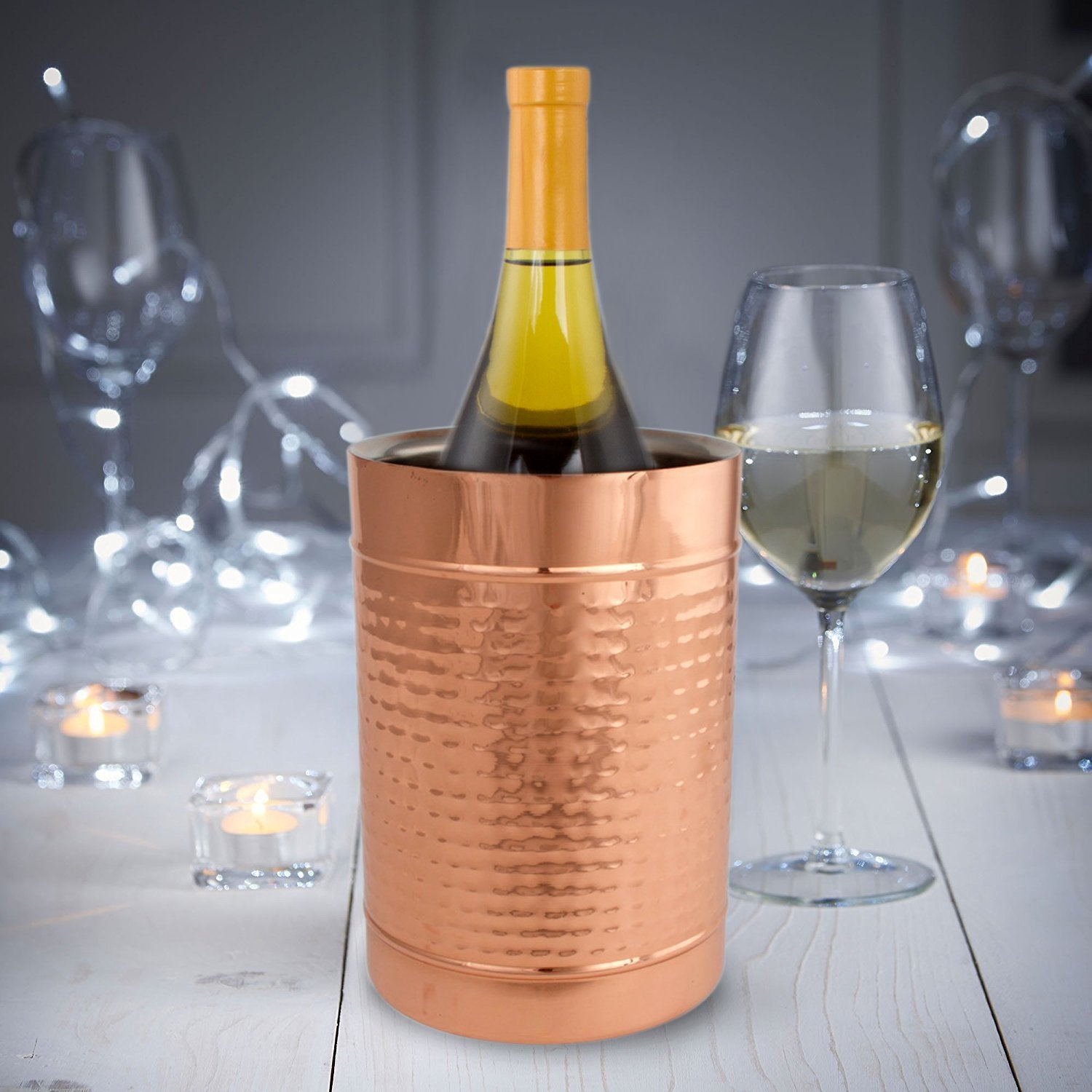 Copper Double Wall Wine Cooler – Insulated Cooler Ice Bucket – Champagne Bucket or Wine Chiller Bottle Cooler