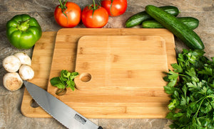 3 Pc Durable Bamboo Cutting Boards - Sturdy Chopping Board or Carving Board Block (Solid)