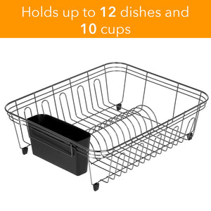 Dish Drying Rack with Plastic Utensil Holder – Drying Rack Kitchen - Stainless Steel Wire Dish Rack, Rust-Resistant Dish Racks for Counter