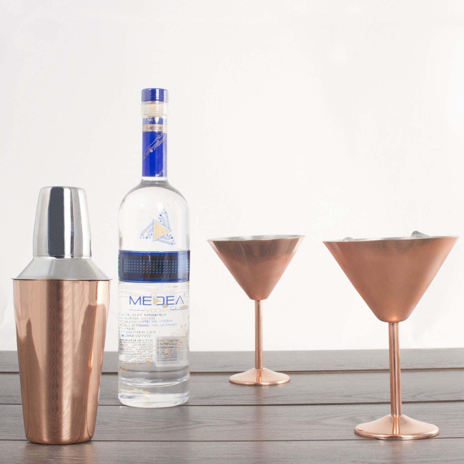 3 pc Copper Stainless Steel Martini Gift Set - 2 Large Martini Glasses and Shaker Set - Copper Martini Shaker Set (Copper)