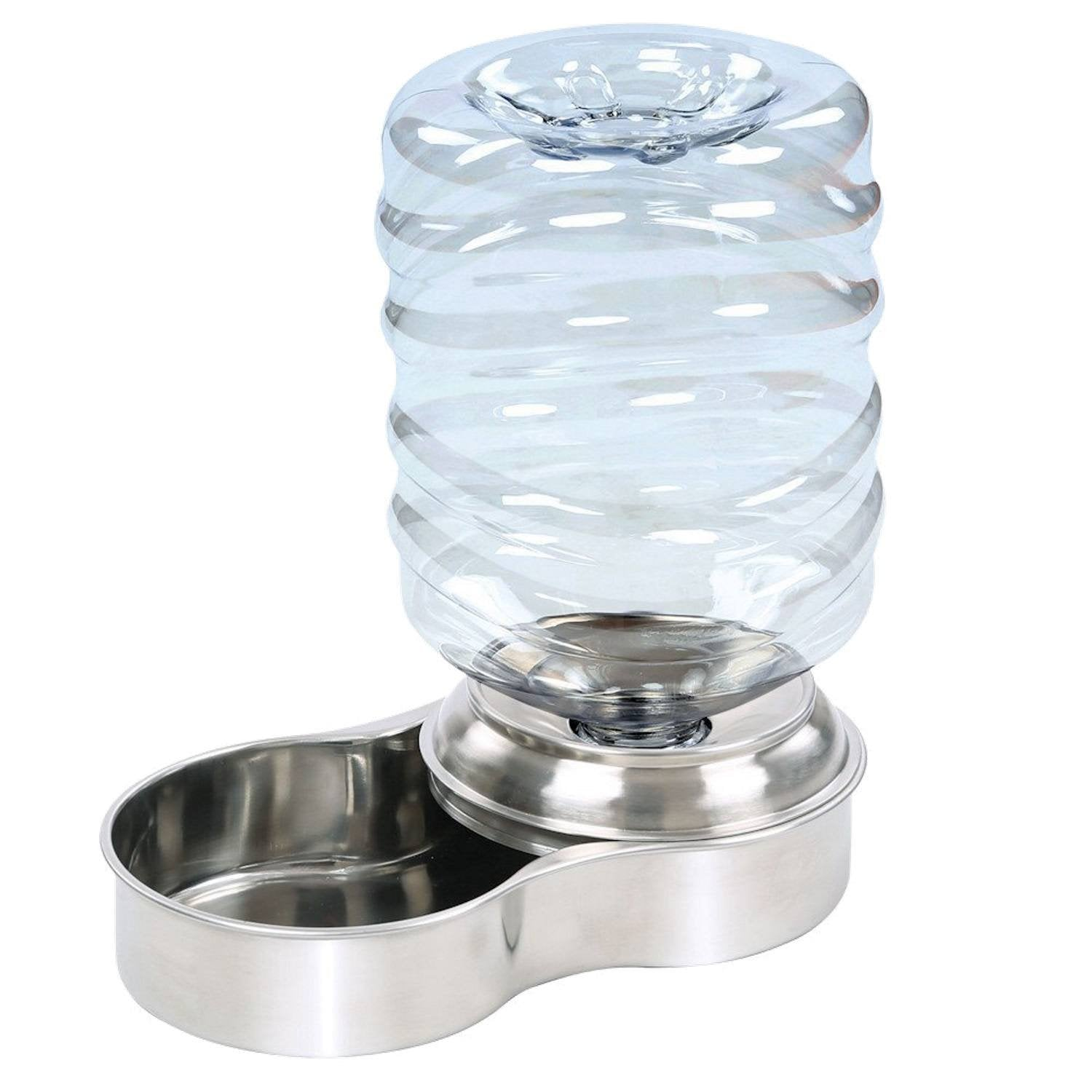Waterer Stainless Steel Pet Dog Cat Water Fountain Bowl - 1 Gallon Capacity