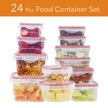 Load image into Gallery viewer, 24 Pc Reusable Kitchen Containers w/Vented Lids - Plastic Food Containers - School Office Work Microwavable Containers (Red Lids)