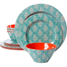 Load image into Gallery viewer, Studio California Solina 12 Piece Melamine Dinnerware Set, Aqua