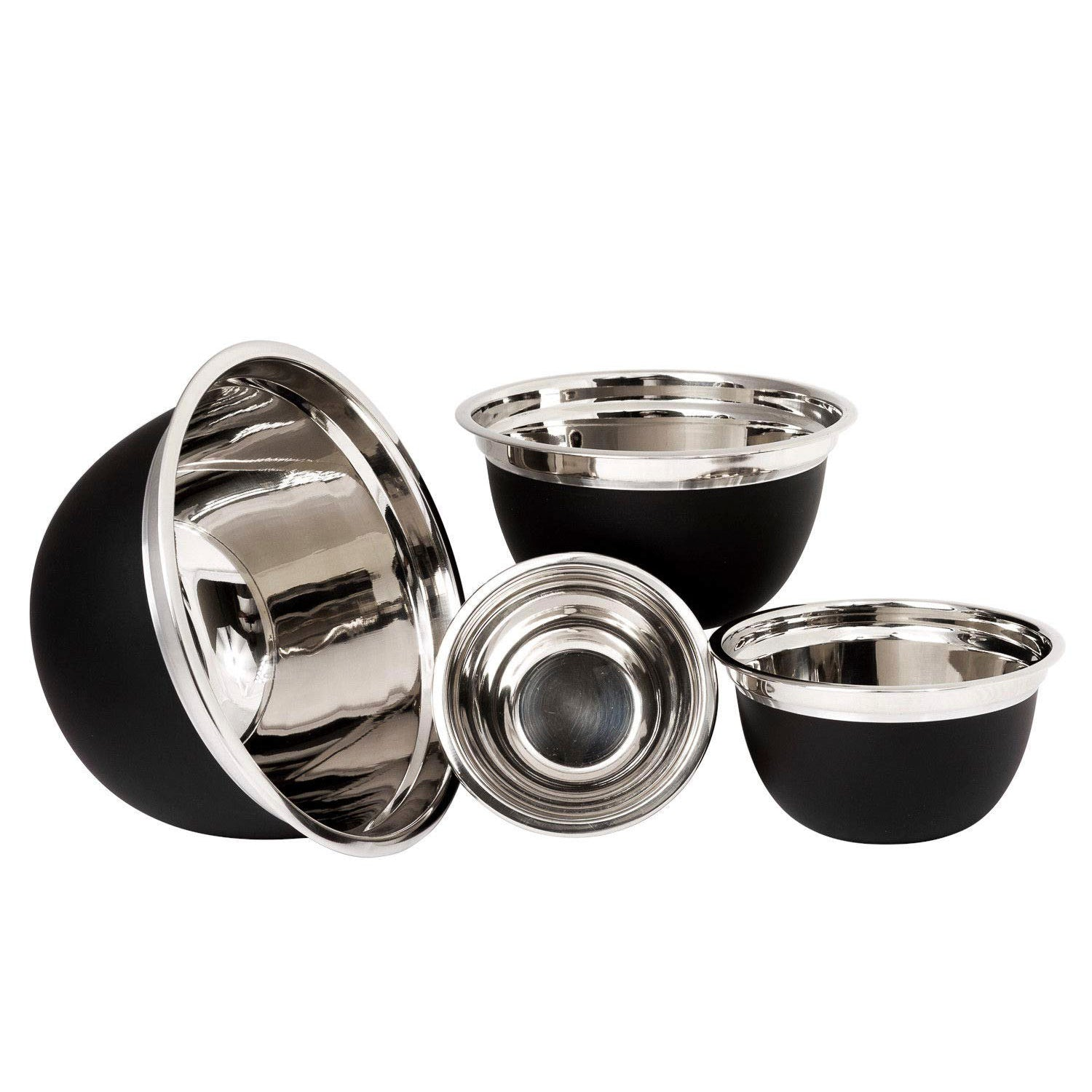4 pc Stainless Steel Mixing Bowls – Mixing Bowl Set – Salad Bowl Set – 4 Bowl Sets for Kitchen – Serving Bowl Set (Black)