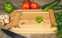 Load image into Gallery viewer, 3 Pc Durable Bamboo Cutting Boards - Sturdy Chopping Board or Carving Board Block (Two Tone)