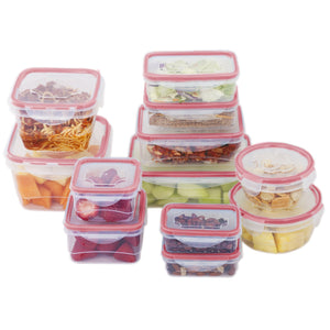 24 Pc Reusable Kitchen Containers w/Vented Lids - Plastic Food Containers - School Office Work Microwavable Containers (Red Lids)