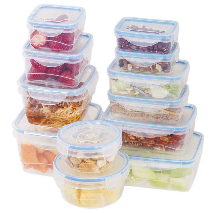 24 Pc Reusable Kitchen Containers w/Vented Lids – Plastic Food Containers – Microwavable Containers (Blue Lids)
