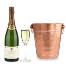 Load image into Gallery viewer, Copper Stainless Steel Champagne Bucket - Hammered Wine Bottle Cooler Ice Bucket