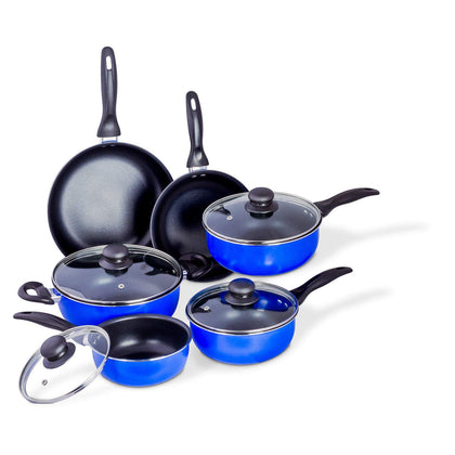 Nonstick Cookware Set – 10-Piece Cookware Sets – Pots and Pans Set – Non-Stick Frying Pans and Pots (Black Interior)