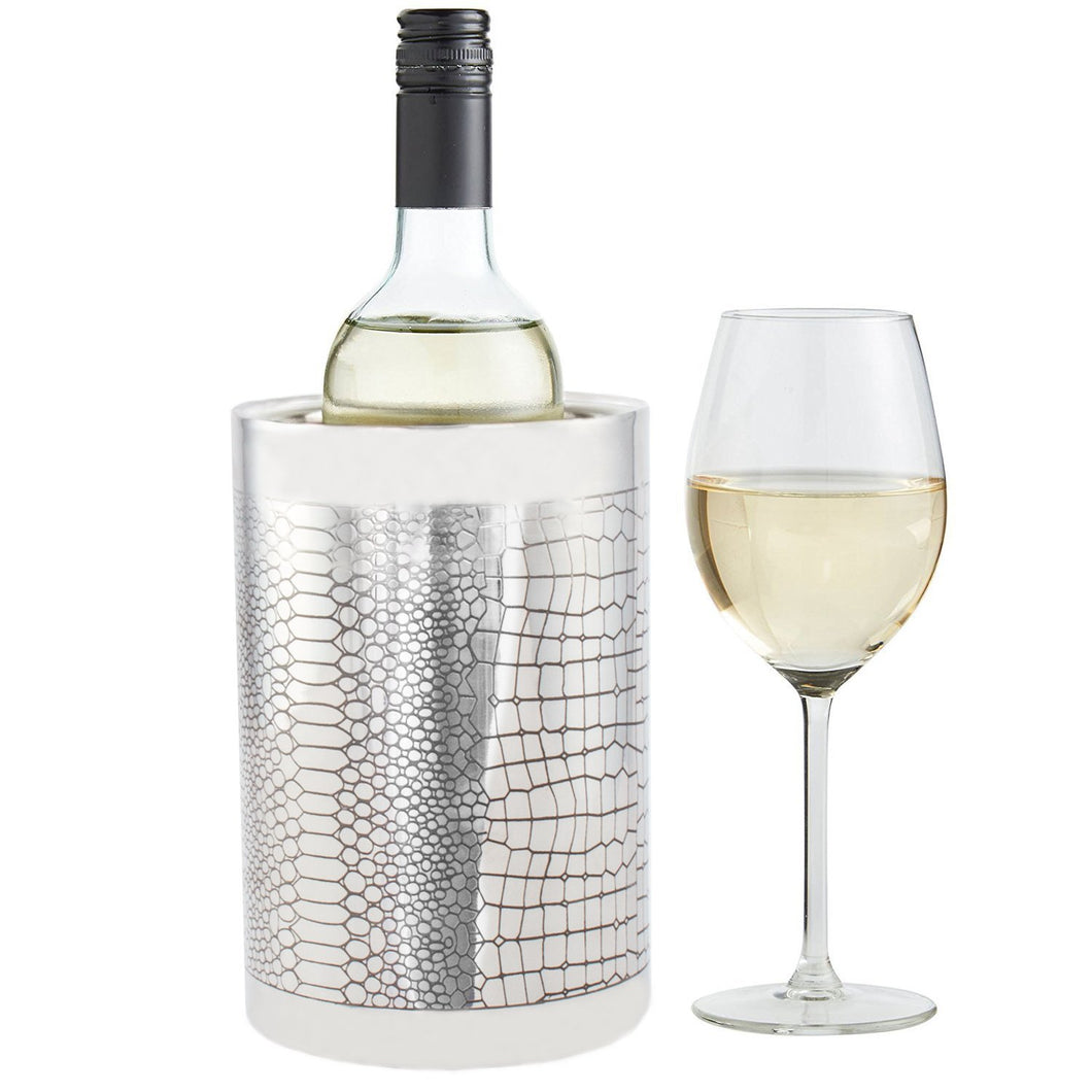 Double Wall Small Wine Cooler - Reptile Design Brass Bottle Cooler Ice Bucket