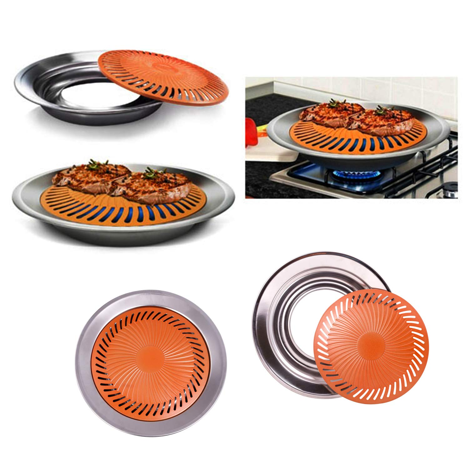 Stovetop Grill – Smokeless Grill – Non-Stick Stove Top BBQ Grill - Copper