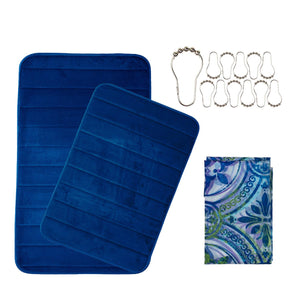 Shower Curtain & Mat Bathroom Set - Non Slip Bath Rug & Curtain & Hook Sets