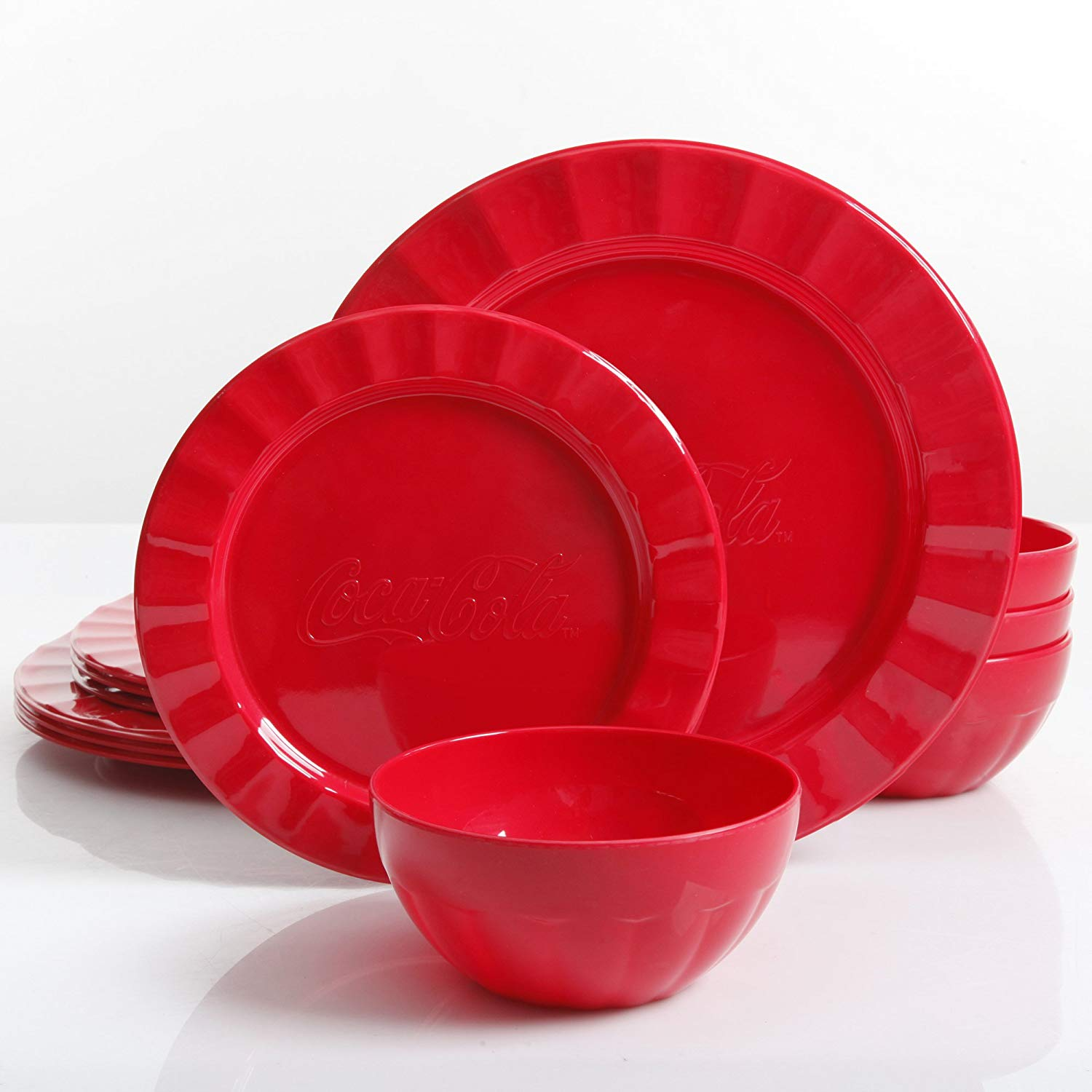 Coca Cola 12 Pcs. Red Durable Melamine Dinner set For 4 Person