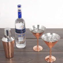 Load image into Gallery viewer, 3 pc Copper Stainless Steel Martini Gift Set - 2 Large Martini Glasses and Shaker Set - Copper Martini Shaker Set (Copper)