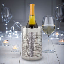 Load image into Gallery viewer, Double Wall Small Wine Cooler - Reptile Design Brass Bottle Cooler Ice Bucket