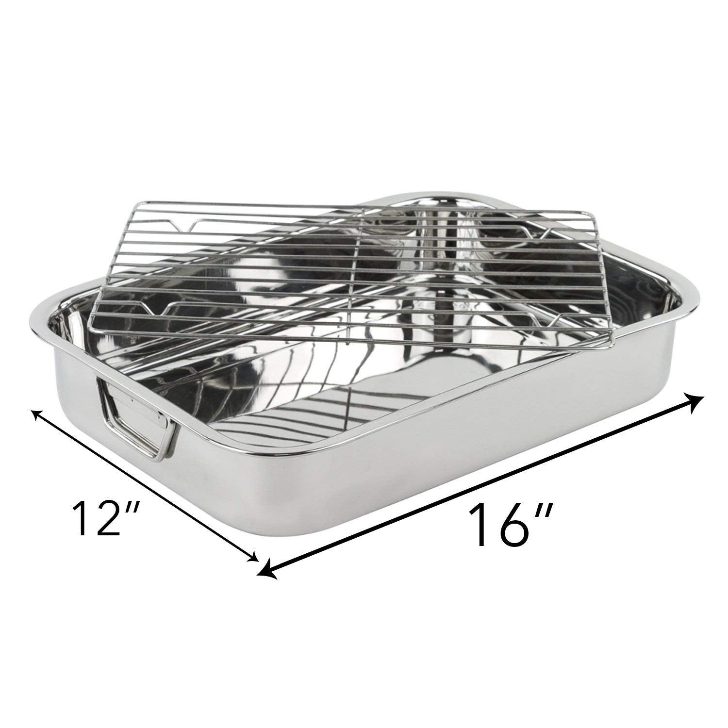 "Roasting Pan - Heavy Duty Stainless Steel 16"" Lasagna Turkey Roaster Pan W/ Rack"