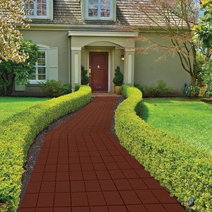 "12 Piece Patio Walkway Pavers 11 3/4"" X 11 3/4"" SetB Brick Color"