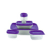 30 Piece Plastic Food Container Set - 15 Plastic Storage Containers with Purple Lids